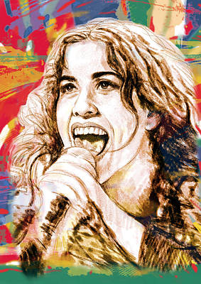Seven Mixed Media - Alanis Morissette - Stylised Drawing Art Poster by Kim Wang