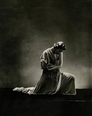 Russian Cross Photograph - Alanova Kneeling In A Dress by George Hoyningen-Huene