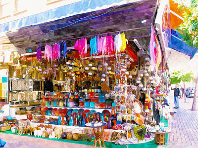 Handcrafted Jewelry Painting - Alanya Street Shopping by Lanjee Chee