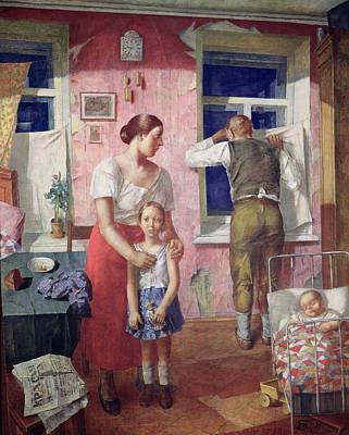 Interior Scene Painting - Alarm by Kuzma Sergeevich Petrov-Vodkin