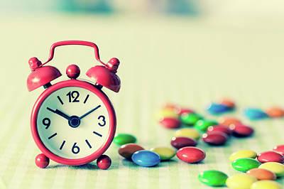 Alarm Clock Photograph - Alarm Clock And Confectionary by Wladimir Bulgar