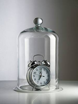 Alarm Clock Inside A Bell Jar Art Print by Science Photo Library