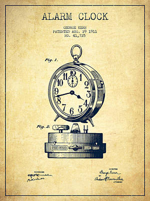Alarm Clock Drawing - Alarm Clock Patent From 1911 - Vintage by Aged Pixel