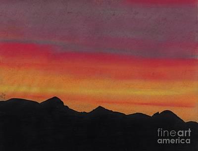 Drawing - Alaska - Sunset by D Hackett