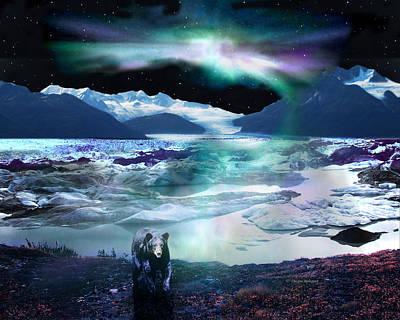 Alaska Aurora Knik Glacier Bear Art Print by Dianne Roberson