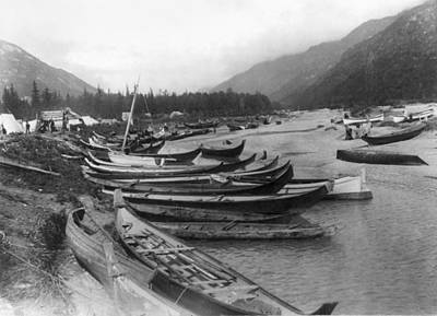 Art Print featuring the photograph Alaska Canoes, C1897 by Granger