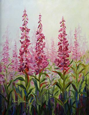 Fireweed Painting - Alaska Fireweed by Karen Mattson
