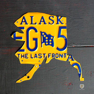 Alaska License Plate Map Artwork Art Print by Design Turnpike