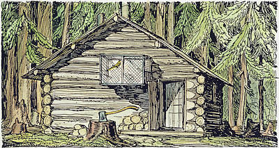 Alaska Log Cabin, 1920 Print by Granger