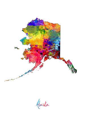 Alaska Digital Art - Alaska Map by Michael Tompsett