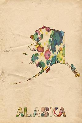 Painting - Alaska Map Vintage Watercolor by Florian Rodarte