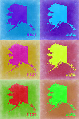 Modern Poster Painting - Alaska Pop Art Map 2 by Naxart Studio