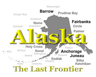Kodiak Digital Art - Alaska State Pride Map Silhouette  by Keith Webber Jr
