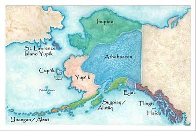 Aleut Painting - Alaska Tribal Map by Terri Pfister