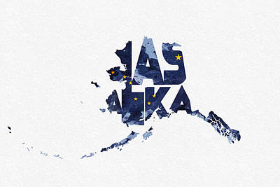 Abstract Map Mixed Media - Alaska Typographic Map Flag by Ayse Deniz