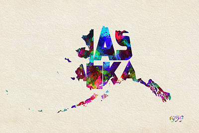 Painting - Alaska Typographic Watercolor Map by Inspirowl Design