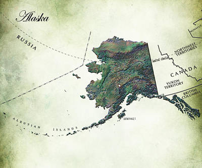 Land Of The Midnight Sun Digital Art - Alaska Vintage Map by Brian Reaves
