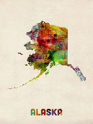 Urban Watercolor Digital Art - Alaska Watercolor Map by Michael Tompsett