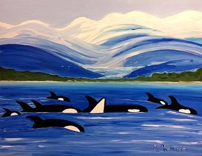 Mendenhall Glacier Painting - Alaska Whale Pod by Shelia Gallaher Chancey
