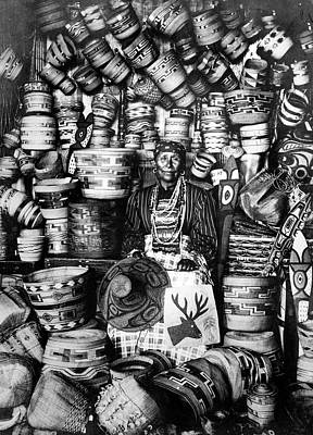 Beadwork Photograph - Alaska Woman And Baskets by Granger