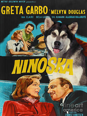 Painting - Alaskan Malamute Art Canvas Print - Ninotchka Movie Poster by Sandra Sij