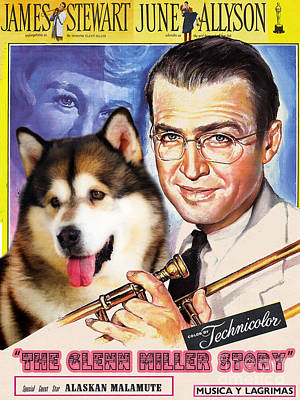 Painting - Alaskan Malamute Art Canvas Print - The Glenn Miller Story Movie Poster by Sandra Sij