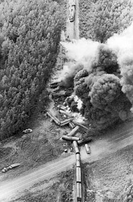 Freight Train Photograph - Alaskan Train Wreck by Underwood Archives