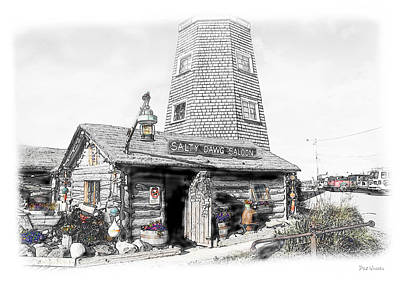 Print featuring the photograph Alaska's Salty Dawg Saloon In B/w  by Dyle   Warren