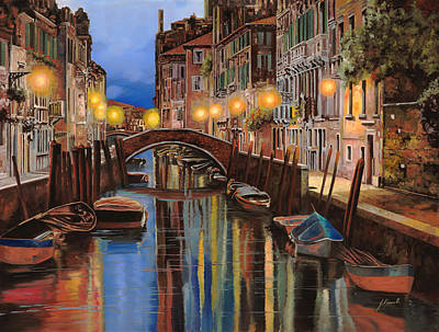 Bridges Painting - alba a Venezia  by Guido Borelli
