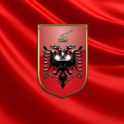 Digital Art - Albania  - Coat Of Arms Over Flag by Serge Averbukh