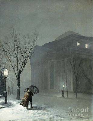 Nocturnal Painting - Albany In The Snow by Walter Launt Palmer