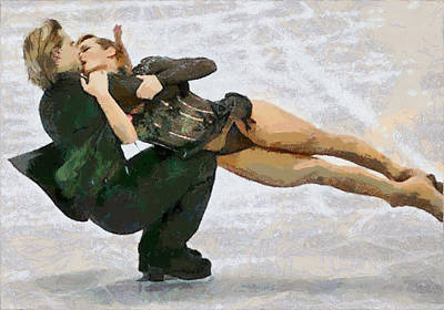 Painting - Albena And Maxim Ice Dancers by Georgi Dimitrov
