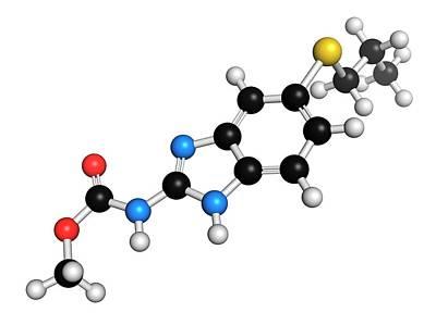 Albendazole Anthelmintic Drug Molecule Art Print by Molekuul