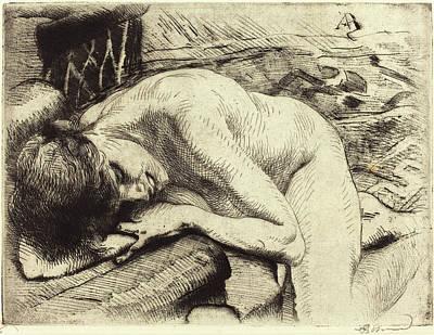 Mod Drawing - Albert Besnard French, 1849 - 1934, Model Asleep by Quint Lox