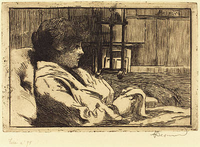 Atelier Drawing - Albert Besnard French, 1849 - 1934, Woman Reading by Quint Lox
