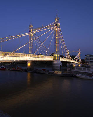 Abstract Skyline Rights Managed Images - Albert Bridge London Thames at night  Royalty-Free Image by David French