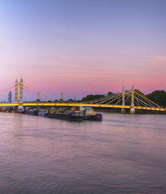 Photograph - Albert Bridge London Thames At Night Dusk by David French