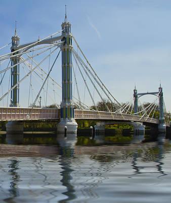 Albert Bridge London Thames  Art Print by David French