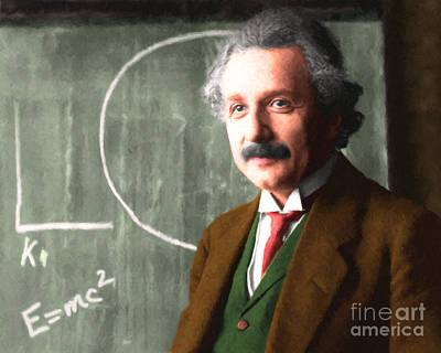 Quantum Science Digital Art - Albert Einstein 20140910 Horizontal by Wingsdomain Art and Photography