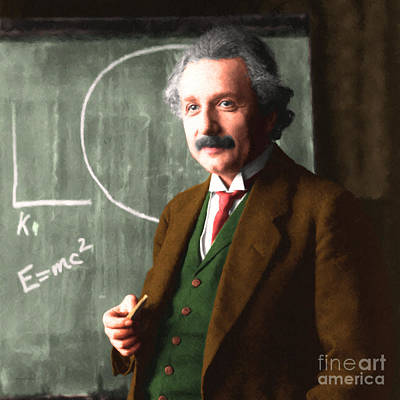 Quantum Science Digital Art - Albert Einstein 20140910 Square by Wingsdomain Art and Photography