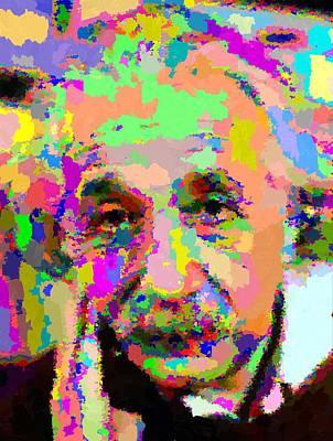 Painting - Albert Einstein - Abstract 03 by Samuel Majcen