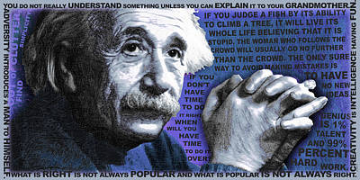Albert Einstein And Quotes Blue Original