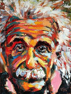 Healing Art Painting - Albert Einstein by Derek Russell