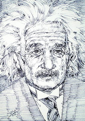 Einstein Drawing - Albert Einstein - Drawing Portrait by Fabrizio Cassetta