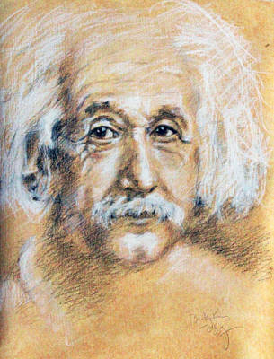 Einstein Drawing - Albert Einstein Face by Becky Kim