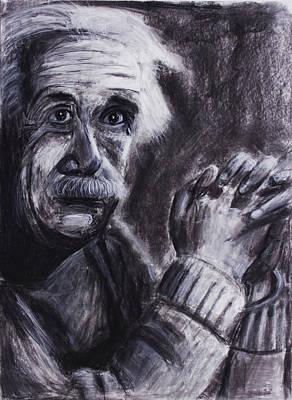 Einstein Drawing - Albert Einstein Holding His Hands by Don Lee