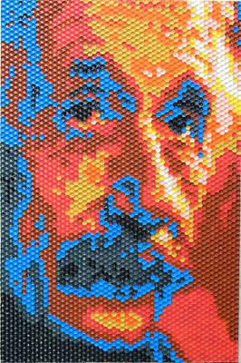Painting - Albert Einstein - Honeycomb by Samuel Majcen