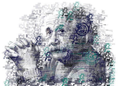 Genius Wall Art - Painting - Albert Einstein by Bekim Art