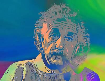 Einstein Mixed Media - Albert Einstein Pop Art Smoking by Dan Sproul