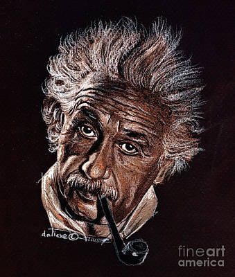 Einstein Drawing - Albert Einstein Portrait by Daliana Pacuraru